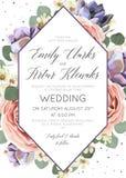 Die Blumen Heirat laden, Einladung, speichern die Datumskarte elegantes BO ein stock abbildung