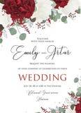 Die Blumen Heirat laden, Einladungsabwehr das Datumskartendesign mit ein lizenzfreie abbildung