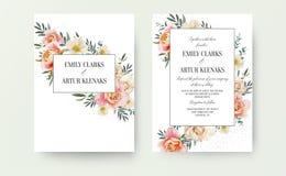 Die Blumen Heirat laden, Einladungskartendesign ein: Gartenrosapfirsich, orange Rose, gelbe weiße Magnolienblume, Eukalyptus, grü stock abbildung