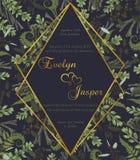 Die Blumen Heirat laden Karte ein Vektoraquarellgrün-Waldblatt, Farn, Niederlassungen Buchsbaum, Buxus, Eukalyptus, brunia Raute, lizenzfreie abbildung