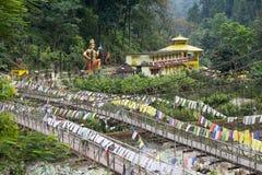 Die Brücke über dem Rangeet-Fluss bei Legship, West-Sikkim, Indien stockfotografie