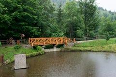 Die Brücke über dem See Stockbild