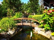 Die Brücke über dem Teich mit Brunnen und kleinem Wasserfall E lizenzfreies stockfoto