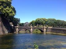 Die Brücke auf dem Wasser, das wie das Augenglas aussieht lizenzfreies stockfoto