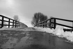 Die Brücke im Park unter dem Schnee im Winter in Schwarzweiss Stockfotos