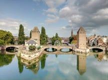 Die Brücke Ponts Couverts in Straßburg lizenzfreies stockbild