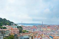 Die Brücke vom 25. April herein Lissabon Lizenzfreie Stockfotografie