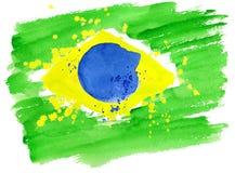 Die brasilianische Flagge, die von buntem gemacht wird, spritzt stock abbildung
