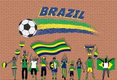 Die brasilianischen Fußballfane, die mit Brasilien zujubeln, kennzeichnen Farben im fron stock abbildung