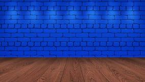 Die braune Holztischspitze im Hintergrund ist ein blauer alter Ziegelstein Scheinwerfereffekt auf die Wand - kann für Anzeige ver stockbild