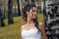 Die Braut in einem Birchwood Stockbild