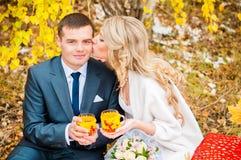 Die Braut küsst den Bräutigam, sie halten Gläser heißen Tee Stockfotografie