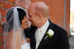 Die Braut u. Bräutigam, die jede andere untersuchen, mustert Lizenzfreies Stockbild
