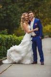 Die Braut und der Bräutigam - die Fotografie im Park Lizenzfreies Stockbild