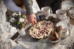 Die Braut und der Bräutigam schnitten die Hochzeitstorte in der Zinnmetallplatte draußen in den Winter auf der Küste des gefroren Lizenzfreies Stockfoto