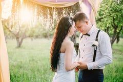 Die Braut und der Bräutigam, die in die Strahlen der Abendsonne streicheln Die Braut mit einer Blume Stockbilder