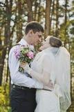 Die Braut untersucht die Augen des Bräutigams 3931 Stockbild