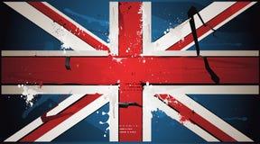 Die britische Markierungsfahne wird mit Lack gezeichnet Stockbild