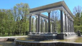 Die Brunnen-'Löwekaskaden'Nahaufnahme, sonnig Maifeiertag Peterhof, St Petersburg stock video footage