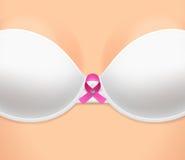 Die Brust der Frau kleidete im BH und im Rosaband an vektor abbildung
