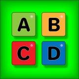 Die Buchstaben und die Knöpfe in hellem stock abbildung