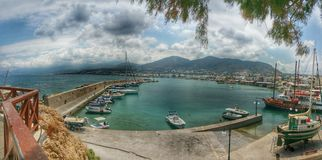 Die bucht. In hersonnisos at Crete Island Royalty Free Stock Photos