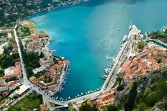 Die Bucht von Kotor Stockbild
