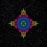 Die buddhistische Mandala im Hintergrund der beträchtlichen Ausdehnungen von t vektor abbildung