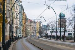 Die bunte Straße in Prag, Tschechische Republik Stockfoto