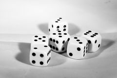 The die is cast. black and white playing blocks as a symbol of decision. The die is cast. black and white playing blocks a symbol of decision Royalty Free Stock Photos