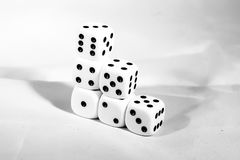 The die is cast. black and white playing blocks as a symbol of decision. The die is cast. black and white playing blocks a symbol of decision Royalty Free Stock Image