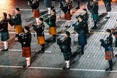 Die Celtic angehäuften Rohre und die Trommeln am Roten Platz stockfotos