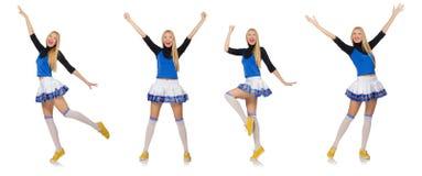 Die Cheerleader lokalisiert auf dem weißen Hintergrund Lizenzfreies Stockfoto