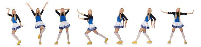 Die Cheerleader lokalisiert auf dem weißen Hintergrund Lizenzfreie Stockfotos