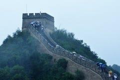 Die Chinesische Mauer im Regen Stockfotos