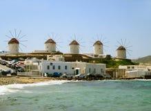 Die Chora-Windmühlen, berühmter Markstein von Mykonos-Stadt, Griechenland Stockbild