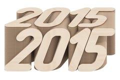 2015 die cijfers uit gesneden houten die panelen worden samengesteld op wit worden geïsoleerd Royalty-vrije Stock Foto