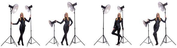 Die Collage der Frau während der Fotoaufnahme lokalisiert auf Weiß Stockfoto
