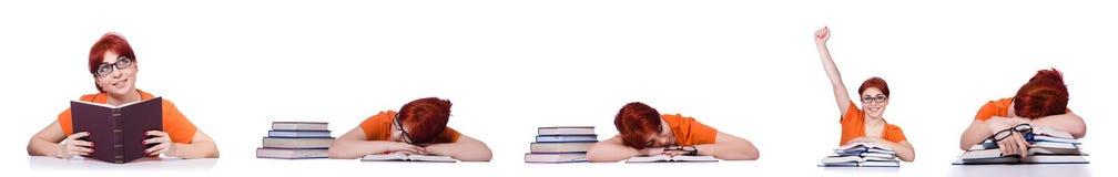 Die Collage der jungen Studentin auf Weiß Stockfoto