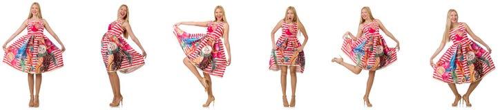 Die Collage des Blickes der Frau in Mode lokalisiert auf Weiß Stockbilder