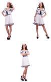 Die Collage des Frauenseemanns lokalisiert auf Weiß Stockfotos