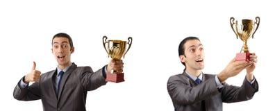 Die Collage des Geschäftsmannes Preis empfangend Stockfoto