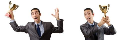 Die Collage des Geschäftsmannes Preis empfangend Stockfotos