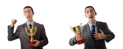 Die Collage des Geschäftsmannes Preis empfangend Lizenzfreies Stockfoto