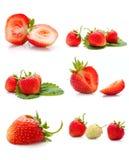 Die Collage gebildet von den köstlichen Erdbeeren Stockfoto