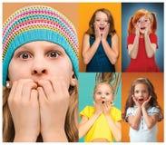 Die Collage mit überraschten jugendlich Mädchen lizenzfreies stockfoto