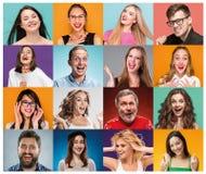 Die Collage von den Frauenbildnissen mit lächelndem Gesichtsausdruck Stockfoto