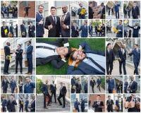 Die Collage von den portraites des multi ethnischen Geschäftsteams stockfotografie
