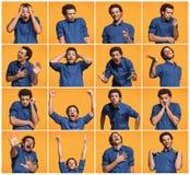 Die Collage von verschiedenen menschlichen Gesichtsausdrücken, von Gefühlen und von Gefühlen stockfoto