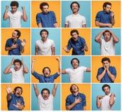 Die Collage von verschiedenen menschlichen Gesichtsausdrücken, von Gefühlen und von Gefühlen stockfotos